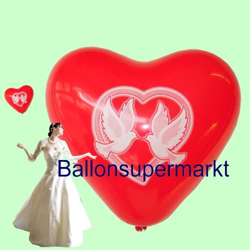 Herzluftballons mit Hochzeitstauben: Tauben, als Zeichen für Frieden und Freiheit. Herzen, als Zeichen für Liebe und Zuneigung.