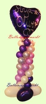 Ballondeko aus Ballons, ein großer Folienballon (vom Ballonsupermarkt beschriftet), viele kleine Miniballons und Herzballons dekoriert zu einer Ballondeko