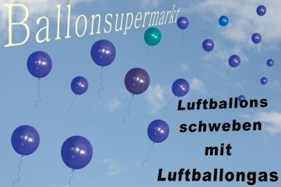 Schwebende Ballone die mit Luftballongasen aufsteigen