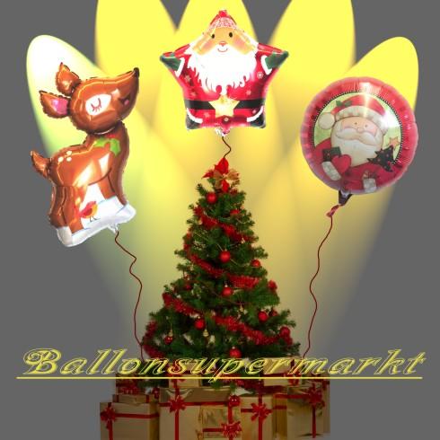 Weihnachtsgeschenke am Tannenbaum, Luftballons zu Weihnachten