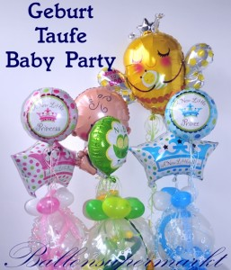Baby Party, Geburt, Taufe, Luftballons und Dekoration