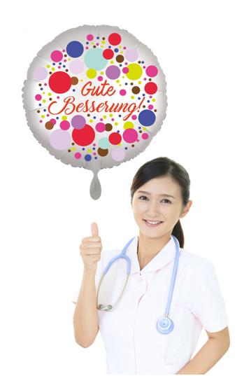 Gute Besserung Luftballon mit Krankenschwester