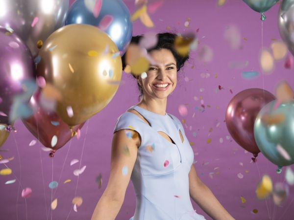zum Geburtstag lassen wir es richtig krachen mit Metallic-Luftballons