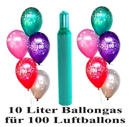 ballonsupermarkt 100 bunte luftballons mit helium zahl 100 zum 100 jubil um. Black Bedroom Furniture Sets. Home Design Ideas