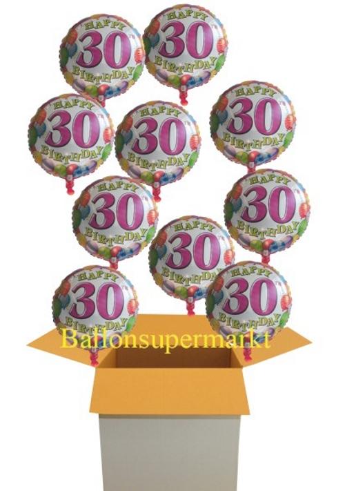 ballonsupermarkt happy birthday balloons zum 30 geburtstag 10 ballons mit. Black Bedroom Furniture Sets. Home Design Ideas