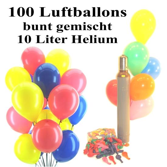 ballonsupermarkt maxi set 2 100 bunte luftballons mit helium gemischt. Black Bedroom Furniture Sets. Home Design Ideas