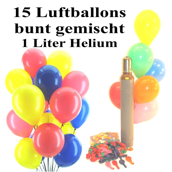 ballonsupermarkt mini set 2 15 bunte luftballons gemischt 1 liter helium. Black Bedroom Furniture Sets. Home Design Ideas