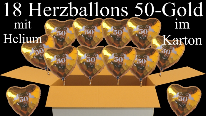 18 herzballons aus folie mit helium im karton 50 gold goldene hochzeit ballonsupermarkt. Black Bedroom Furniture Sets. Home Design Ideas
