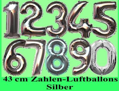 Zahlen-Deko Luftballons aus Folie, 43 cm, Silber, Zahlendekoration mit Folienballons