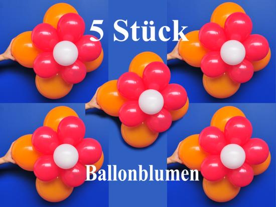 ballonsupermarkt ballonblumen set blumen aus luftballons orange rot wei 5. Black Bedroom Furniture Sets. Home Design Ideas