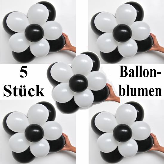 ballonsupermarkt ballonblumen set blumen aus luftballons schwarz wei 5 st ck. Black Bedroom Furniture Sets. Home Design Ideas