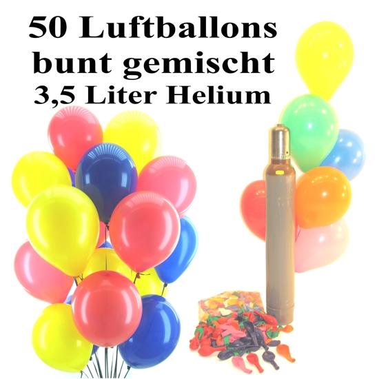 ballonsupermarkt midi set 2 50 bunte luftballons mit helium gemischt midi. Black Bedroom Furniture Sets. Home Design Ideas