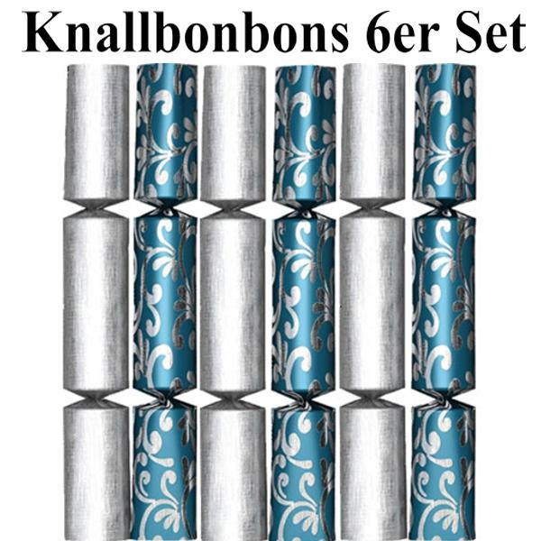 Knallbonbons Silber Blau zu Silvester