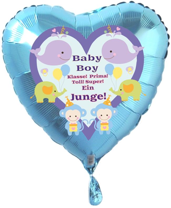 Luftballon Herz Türkis, Geburt, Taufe, Baby Boy, Junge