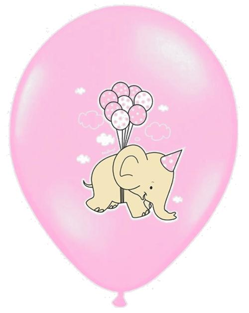 Luftballons aus Latex, Geburt, Taufe Mädchen, Elefant mit Luftballons, Rosa