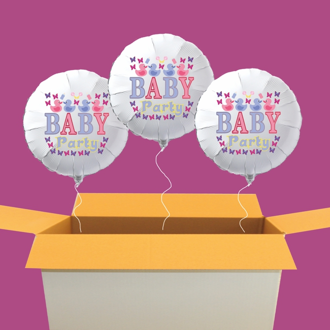 Baby Party Luftballons, 3 Heliumballons aus Folie