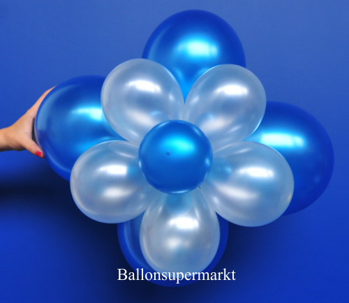 ballonsupermarkt ballonblumen set blumen aus luftballons blau wei metallic 5. Black Bedroom Furniture Sets. Home Design Ideas