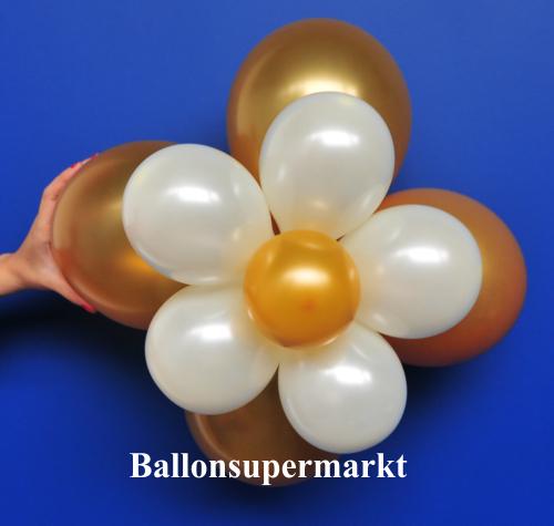 ballonsupermarkt ballonblumen set blumen aus luftballons braun wei gold. Black Bedroom Furniture Sets. Home Design Ideas