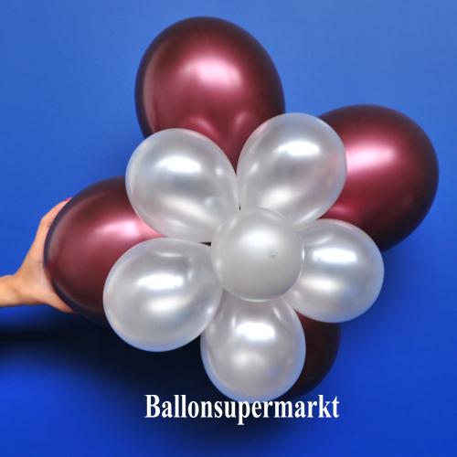 ballonblumen set blumen aus luftballons burgund wei metallic 5 st ck ballonblumen sets. Black Bedroom Furniture Sets. Home Design Ideas