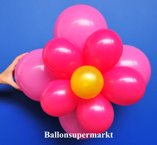 ballonsupermarkt ballonblumen set blumen aus luftballons rosa rot gelb 5 st ck. Black Bedroom Furniture Sets. Home Design Ideas