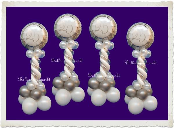 ballondekoration 2 silberne 25 silberne hochzeit ballonsupermarkt. Black Bedroom Furniture Sets. Home Design Ideas