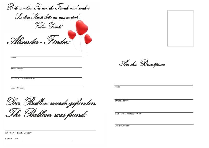 ballonflugkarten hochzeit wir haben geheiratet 10 postkarten f r luftballons luftballons mit. Black Bedroom Furniture Sets. Home Design Ideas