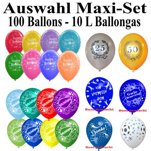 helium set mit 100 luftballons auswahl selbst bestimmen 10 liter ballongasflasche ballons. Black Bedroom Furniture Sets. Home Design Ideas