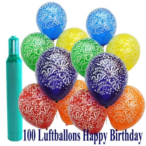 maxi set 5 100 luftballons mit helium happy birthday geburtstag ballons helium sets maxi. Black Bedroom Furniture Sets. Home Design Ideas