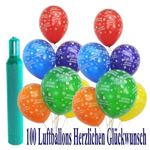 ballonsupermarkt maxi set 6 100 bunte luftballons geburtstag herzlichen. Black Bedroom Furniture Sets. Home Design Ideas