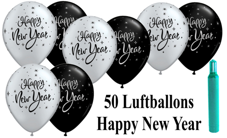 Ballons-Helium-Set-50-Luftballons-Silvester-Happy-New-Year-50-Stueck