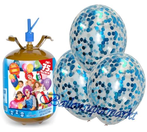 jumbo konfetti luftballons hellblau luftballons midi set 10 transparente ballons mit helium. Black Bedroom Furniture Sets. Home Design Ideas