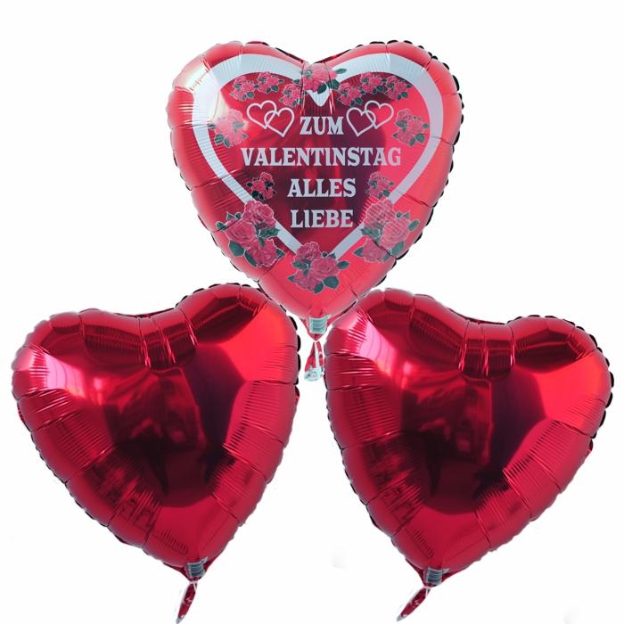 Aufmerksamkeit zum Valentinstag, Helium-Luftballons Bouquet aus 3 Herzballons mit der Liebesbotschaft. Zum Valentinstag Alles Liebe. Wer da nicht dahinschmelzt!