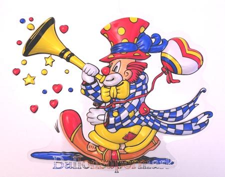 karnevals clown mit fanfare wanddekoration b hnendekoration zu karneval und fasching. Black Bedroom Furniture Sets. Home Design Ideas