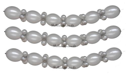 ballongirlande zum selbermachen ballondekoration in silber silberne hochzeit dekoration. Black Bedroom Furniture Sets. Home Design Ideas