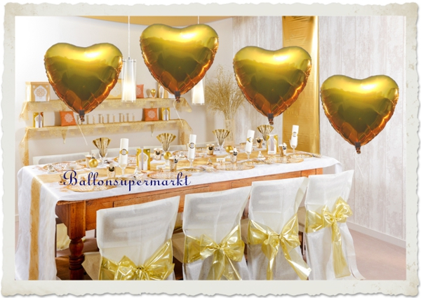gro er herzluftballon aus folie gold 90 cm ballonsupermarkt. Black Bedroom Furniture Sets. Home Design Ideas
