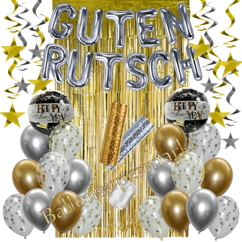 Guten Rutsch Dekoration Silvester in Silber und Gold