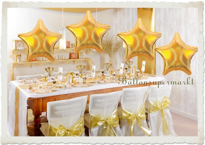 Dekoration Goldene Hochzeit mit holografischen goldenen Sternballons die mit Helium schweben