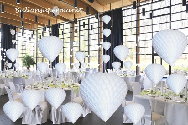 Ballonsupermarkt wabenherz wei for Hochzeit raumdeko