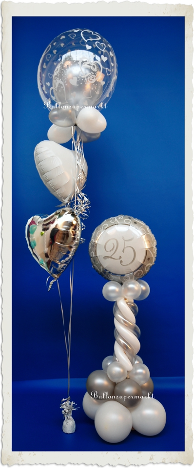 ballonsupermarkt silberne hochzeit dekoration ballondekoration 1 silberne 25. Black Bedroom Furniture Sets. Home Design Ideas