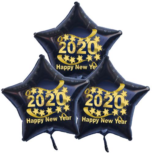 Dekoration-Silvester-3-Sternballons-aus-Folie-Happy-New-Year-2020