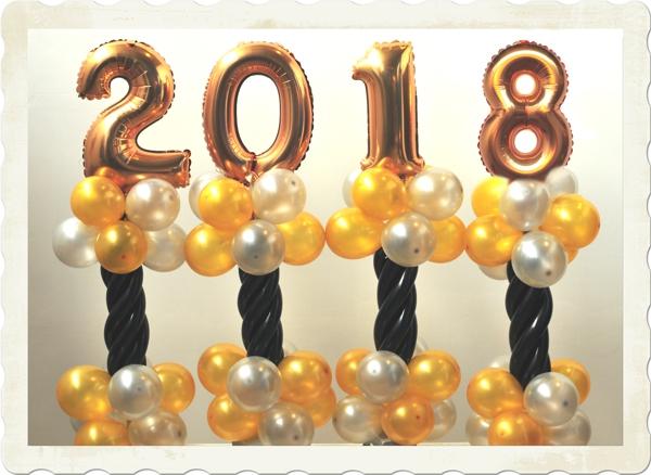 Silvesterdeko 2018, Ballondekoration, Zahlendekoration, Partydekoration