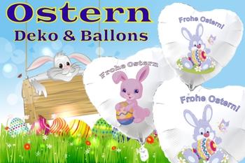 Dekoration und Luftballons zu Ostern, Osterfestdekoration