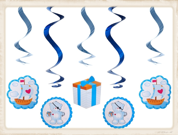 Dekoration-zu-Geburt-Taufe-Baby-Party-Swirls-Blau-Boy-Junge