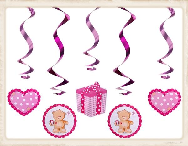 ballonsupermarkt deko swirls geburt taufe baby shower party rosa girl. Black Bedroom Furniture Sets. Home Design Ideas