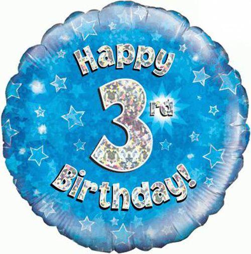 Luftballon Aus Folie Mit Helium 3 Geburtstag Blau Junge