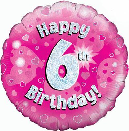 Luftballon Aus Folie Mit Helium 6 Geburtstag Pink Mädchen