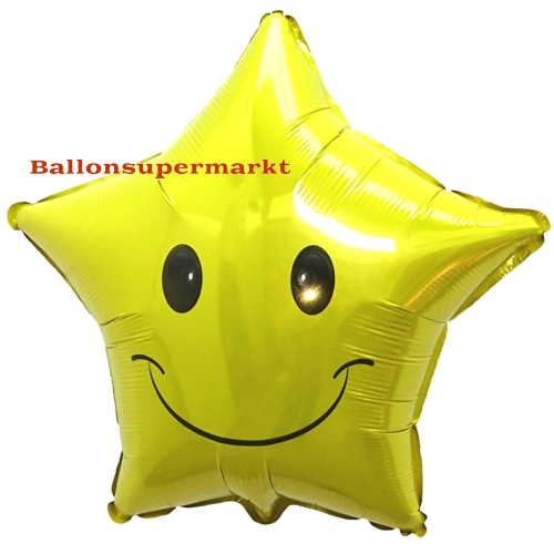 Folienballon-Smiley-Stern-Emoji-Luftballon-Geschenk