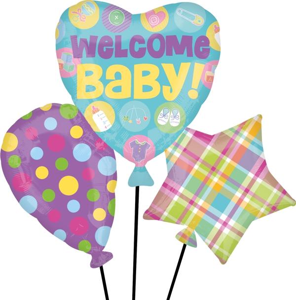 ballonsupermarkt welcome baby gro er cluster luftballon aus folie mit helium. Black Bedroom Furniture Sets. Home Design Ideas