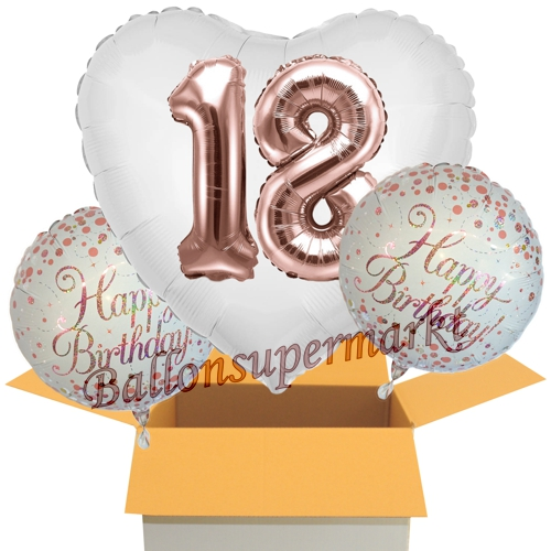 3 Geburtstags Luftballons Jumbo 3d Sparkling Fizz Birthday Rosegold