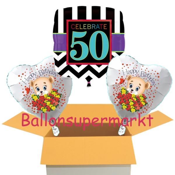 ballonsupermarkt geburtstag celebrate 50 mit b rchen geburtstag kleiner. Black Bedroom Furniture Sets. Home Design Ideas
